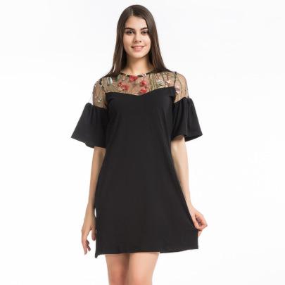 Mesh Embroidery Stitching Trumpet Sleeve Dress Nihaostyles Wholesale Clothing Vendor NSLDY76333