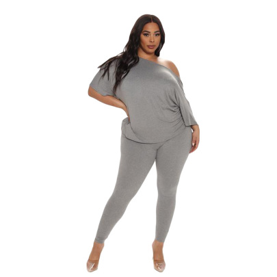 Plus Size Loose Casual Back Twisted Backless Solid Color Top Pants Two-piece Set Nihaostyles Wholesale Clothing Vendor NSCN76406