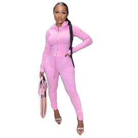 Pure Color Suit Personality Collage Sweatshirt Two-piece Set Nihaostyles Wholesale Clothing Vendor NSCN76407