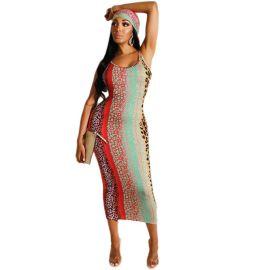 Backless Leopard Print Dress Nihaostyles Wholesale Clothing Vendor NSOJS76408