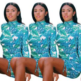 Blue Leaf Print Dress Nihaostyles Wholesale Clothing Vendor NSOJS76415