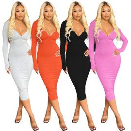 Direct Pit Strip Solid Color Deep V Backless Dress Nihaostyles Wholesale Clothing Vendor NSOJS76417
