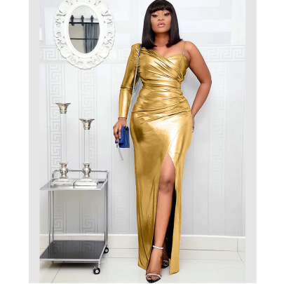 Fashion One-shoulder Irregular Dress Nihaostyles Wholesale Clothing Vendor NSOJS76420