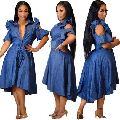 Solid Color Hollow Ruffled Long Denim Dress Nihaostyles Wholesale Clothing Vendor NSOJS76422
