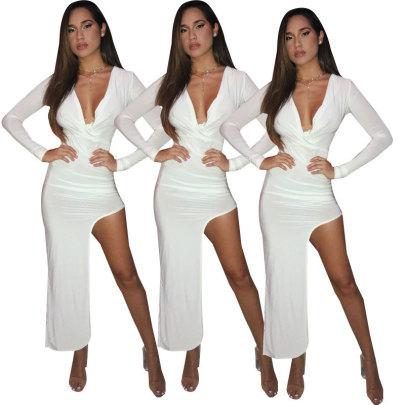 Solid Color Deep V Irregular Dress Nihaostyles Wholesale Clothing Vendor NSOJS76431