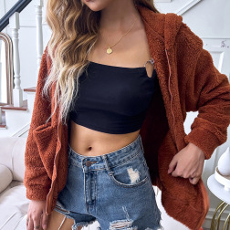 Brown Coat Hooded Zipper Loose Woolen Coat Nihaostyles Wholesale Clothing Vendor NSDF76439