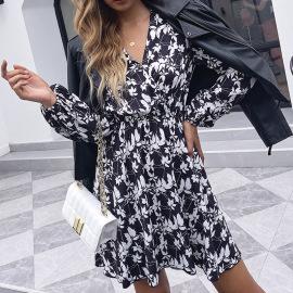 V-neck High-waist A-line Printed Dress Nihaostyles Wholesale Clothing Vendor NSDF76445
