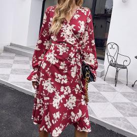 V-neck Print Red Skirt High-waist Long-sleeved Dress Nihaostyles Wholesale Clothing Vendor NSDF76447