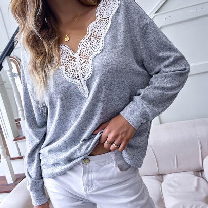 V-neck Solid Color Lace Hedging Loose Stitching Long-sleeved T-shirt Nihaostyles Wholesale Clothing Vendor NSDF76449