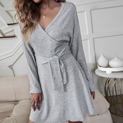 V-neck Long-sleeved Irregular Loose Dress Nihaostyles Wholesale Clothing Vendor NSDF76452