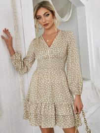 V-neck Print Waist Dress Nihaostyles Wholesale Clothing Vendor NSCX76456