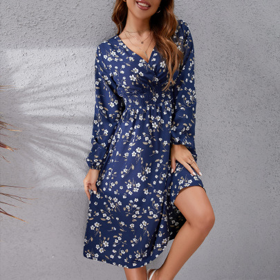 Floral Printing Waist V-neck Dress Nihaostyles Wholesale Clothing Vendor NSCX76458