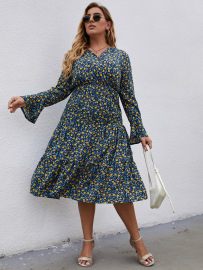Plus Size Long-sleeved V-neck Print Dress Nihaostyles Wholesale Clothing Vendor NSCX76463
