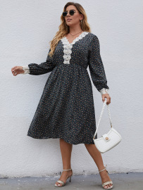 Plus Size Long-sleeved Lace Assembled Print Dress Nihaostyles Wholesale Clothing Vendor NSCX76462