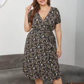 Plus Size V-neck Short-sleeved Lace-up Dress Nihaostyles Wholesale Clothing Vendor NSCX76466