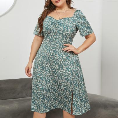 Plus Size Square Collar Waist Split Long Dress Nihaostyles Wholesale Clothing Vendor NSCX76467