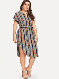 Plus Size Short-sleeved Belt Striped Thin V-neck Dress Nihaostyles Wholesale Clothing Vendor NSCX76468