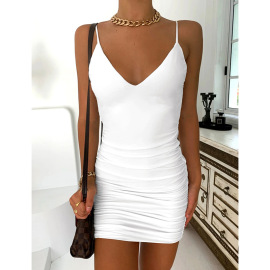 Solid Color Sling Sexy Halter Strap Fold Dress Nihaostyles Wholesale Clothing Vendor NSYI76469