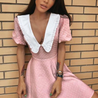 Retro V-shaped Doll Collar Polka Dot Puff Sleeve Short Dress Nihaostyles Wholesale Clothing Vendor NSMI76478