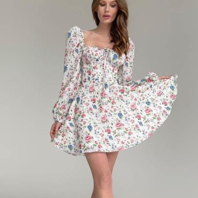 Retro Floral Puff Sleeves Fold Lace Dress Nihaostyles Wholesale Clothing Vendor NSMI76479