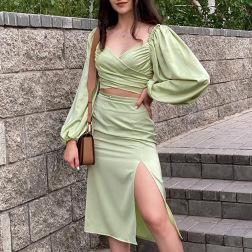 Satin Puff Sleeve Short Blouse Split Long Skirt Two-piece Set Nihaostyles Wholesale Clothing Vendor NSMI76481