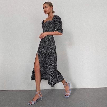 Square Neck Puff Sleeve Floral High Slit Long Dress Nihaostyles Wholesale Clothing Vendor NSMI76484