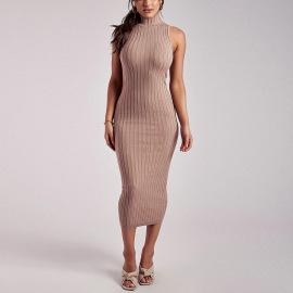High Collar Tight-fitting Thin Elegant Base Long Dress Nihaostyles Wholesale Clothing Vendor NSMI76485