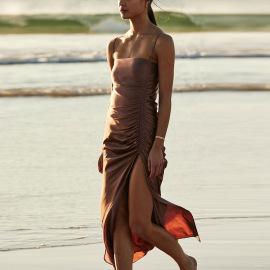 Women's Halter Lace-up Slit Pleated Strap Dress Nihaostyles Clothing Wholesale NSMI76487