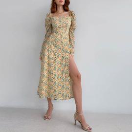 Women's Square Neck Puff Sleeve Floral High Slit Dress Nihaostyles Clothing Wholesale NSMI76492