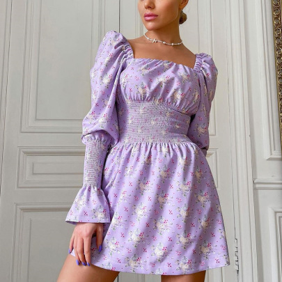 Women's Square Collar Floral Puff Sleeve Pleated Dress Nihaostyles Clothing Wholesale NSMI76493