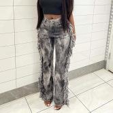 Women's Gray Raw Edge Tie-dye Jeans Nihaostyles Clothing Wholesale NSRUI76535