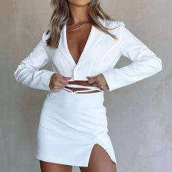Fashion Slightly Split Strap Short Skirt Set Nihaostyles Wholesale Clothing Vendor NSFD76547