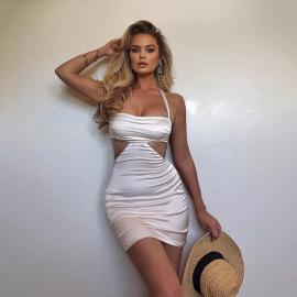 Halter Cut-out Chest Wrap Short Dress Nihaostyles Wholesale Clothing Vendor NSFD76550