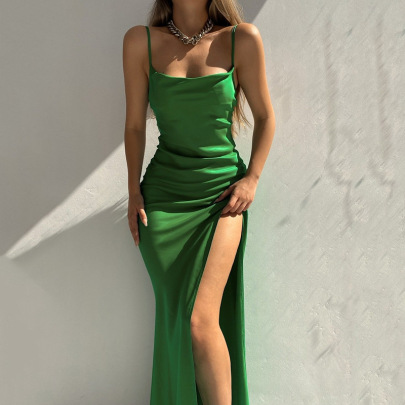 Sling High Slit Long Evening Dress Nihaostyles Wholesale Clothing Vendor NSFD76557