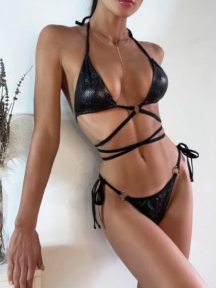 Halter Strap Pad Strappy Bikini Nihaostyles Wholesale Clothing Vendor NSDYS76583