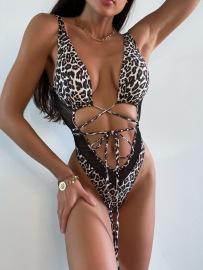 Leopard Print Strapless Swimsuit Nihaostyles Wholesale Clothing Vendor NSDYS76586