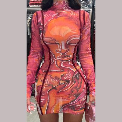Printed Long-sleeved Dress Nihaostyles Wholesale Clothing Vendor NSFR76593