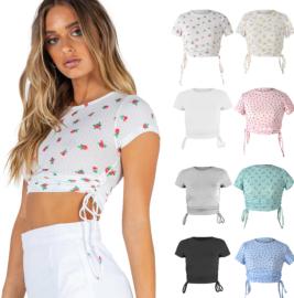 Print Short Sleeve Drawstring Crew Neck Top Nihaostyles Wholesale Clothing Vendor NSLDY76301