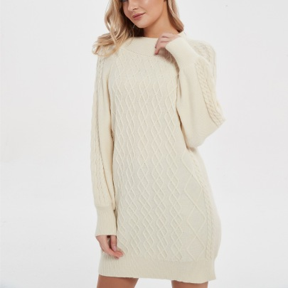 Women's Mid-length Lantern Sleeve Knitted Dress Nihaostyles Clothing Wholesale NSBY76596
