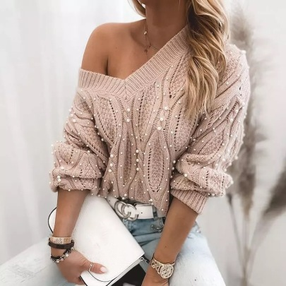 Women's Twist V-neck Pullover Long-sleeved Sweater Nihaostyles Clothing Wholesale NSBY76597