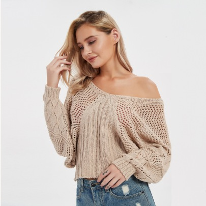Women's Long-sleeved Solid Color Hollow V-neck Knitted Sweater Nihaostyles Clothing Wholesale NSBY76598