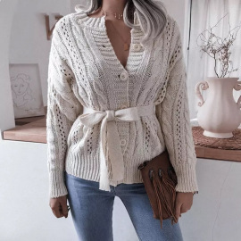 Women's Twist Button Waist Knitted Cardigan Nihaostyles Clothing Wholesale NSBY76600
