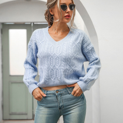 Women's Loose V-neck Pullover Long-sleeved Twist Sweater Nihaostyles Clothing Wholesale NSBY76603