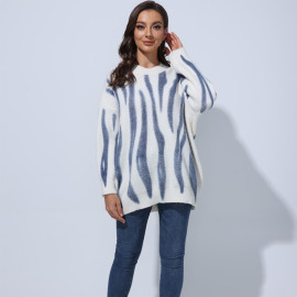 Women's Printed Pullover Loose Sweater Nihaostyles Clothing Wholesale NSBY76606