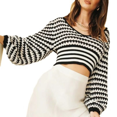Women's Loose Lantern Sleeves Striped V-neck Short Sweater Nihaostyles Clothing Wholesale NSBY76610