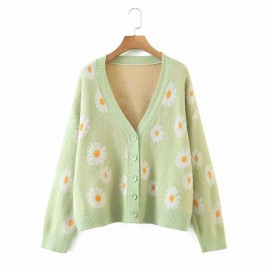 Women's V-neck Long-sleeved Flower Cardigan Nihaostyles Clothing Wholesale NSBY76612