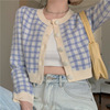 Plaid Long-sleeved Knit Cardigan Nihaostyles Clothing Wholesale NSBY76615