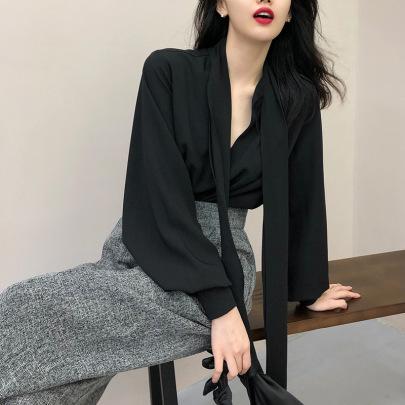 Collar Black Shoulder Collarbone Shirt Nihaostyles Wholesale Clothing Vendor NSFYF76628