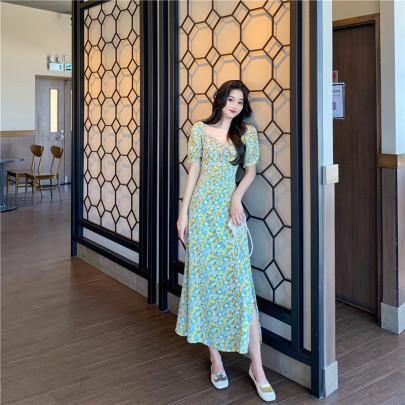 Long Waist Thin Floral Dress Nihaostyles Wholesale Clothing Vendor NSFYF76630