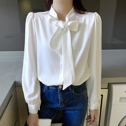 Bow Long-sleeved Lace Chiffon Shirt Nihaostyles Wholesale Clothing Vendor NSFYF76637